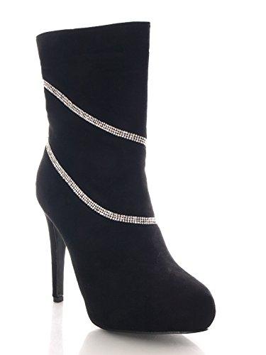 Damen Stiefelette Schwarz mit Straßbesatz Velour Optik # 707