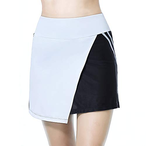 Womens Athletic Skorts Sports Skirts Summer Casual Active with Pockets Golf Train Workout Shorts B/W XL