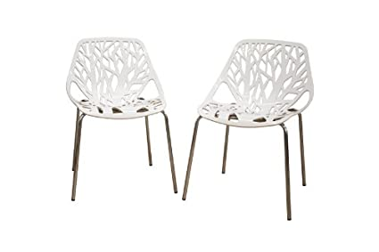 High Quality Baxton Studio Birch Sapling White Plastic Accent/Dining Chair, Set Of 2
