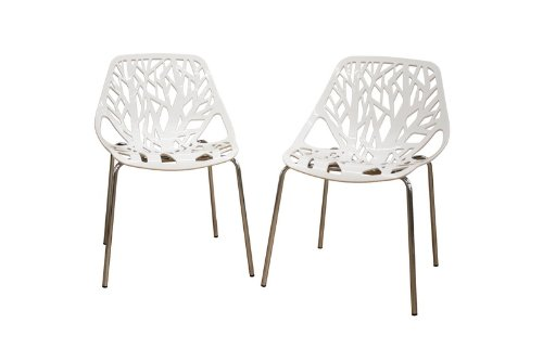 Birch Sapling White Plastic Accent / Dining Chair, Set of 2 (Banquette Table And Chairs)