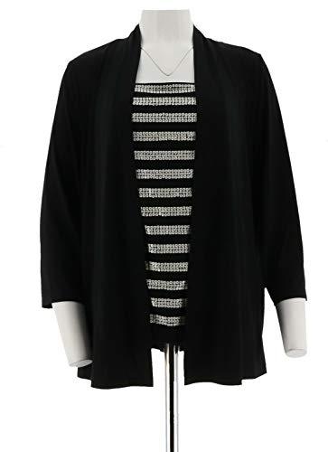 Bob Mackie Clothes - Bob Mackie Drape Front Cardigan Sequin Stripe Shell 2 Pcs Black XL New A222625