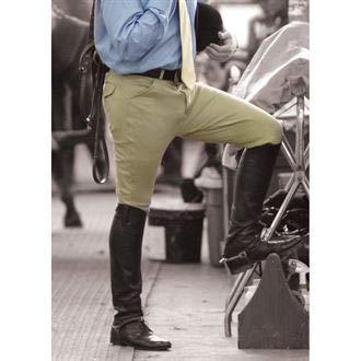 - Ovation Men's EuroWeave Front Zip 4-Pocket Knee Patch Woven Breeches, Neutral Beige, 32 Regular