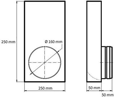 150 x 50 mm Flachkanal zu /Ø 160 mm rund /Übergangsst/ück L Form L/üftung