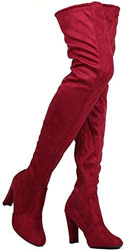 Nature Breeze Womens Stretchy Thigh High Pull String Chunk Heel Combat Boots (7.5, Burgundy Suede)