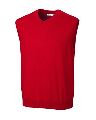 Cutter & Buck MCS01422 Mens Broadview V-Neck Sweater Vest, Red-M