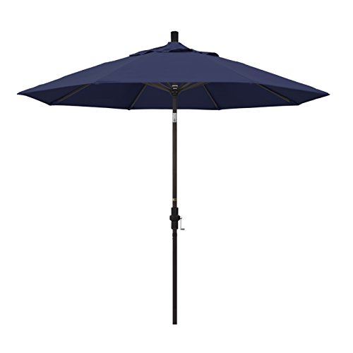 California Umbrella 9' Round Aluminum Market Umbrella, Crank Lift, Collar Tilt, Bronze Pole, Navy Blue Olefin ()