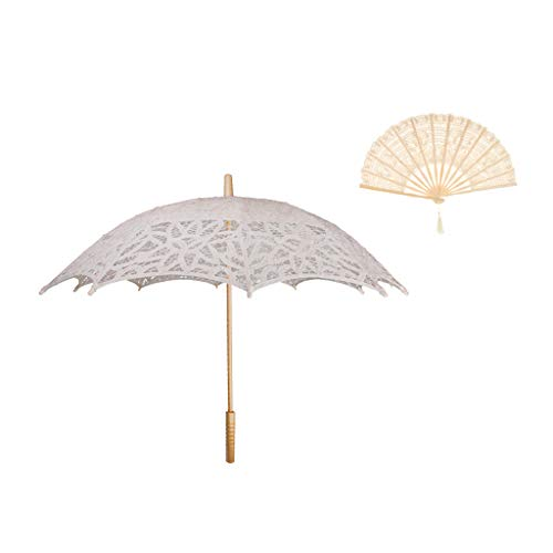 SM SunniMix Lace Flower Vintage Umbrella Lace Bamboo Hand Fan Set Wedding Photo Stage Dancing Props Beige