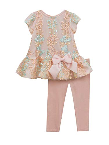 Rare Editions Blush Embroidered Top and Capris (12m-24m) (12 Months)