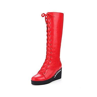 Heart&M Damen Schuhe Künstliche Mikrofaser Polyurethan Herbst Winter Komfort Modische Stiefel Stiefel Keilabsatz Runde Zehe Schnürsenkel Für red