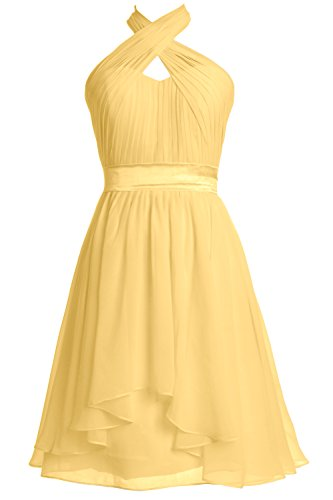MACloth Women Halter Short Bridesmaid Dress Chiffon Cocktail Party Formal Gown Canary
