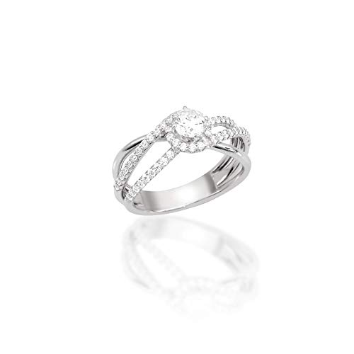 14k white gold Diamond Swirl Solitaire Ring
