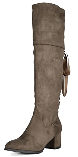 DREAM PAIRS Women's Over The Knee Thigh High Low Block Heel Boots Amus-khaki