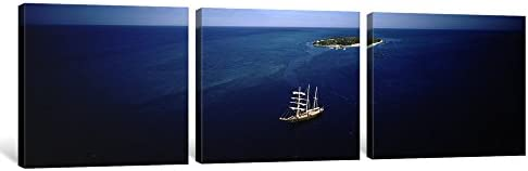 Heron Island Queensland iCanvasART 3 Piece High Angle View of a Sailboat in The Ocean 48 x 16//1.5 Deep Great Barrier Reef Australia Canvas Print by Panoramic Images