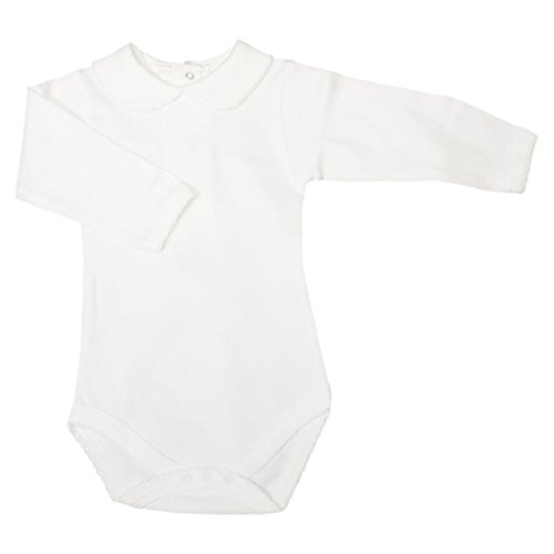 CARLINO Peter Pan Collared Onesie - Long Sleeve, Extra Soft, 5 Colors Available (12-18 Months, White)