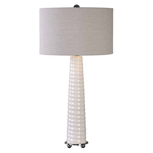 Gloss White Spiral Table Lamp   Tapered Column Ribbed Silver Beige