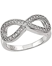 Infinity Ring of Italian 925 silver with cloves Crystal Diamond Size 6 , 2724341137352