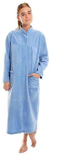 Ladies Button Front Soft Fleece Dressing Gown 4073 [10/12,Blue]