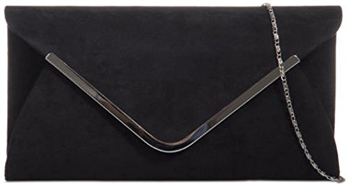 Trim Classic Clutch Medium with Envelope Contrasting Bag Fuchsia Sized Faux Suede Black Ladies q5vYnOdwq