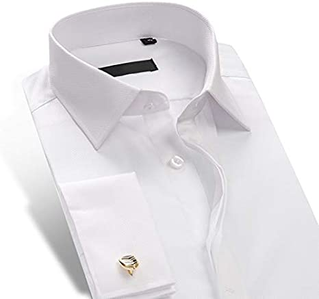 MKDLJY Camisas Camisa de Vestir de Manga Larga, con Corte Ajustado, con puño francés, para Hombres Suave Camisa de Punto Formal y Esmoquin, Tops (Gemelos incluidos al Azar): Amazon.es: Deportes y aire