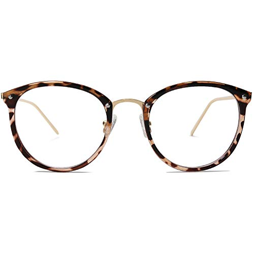 Amomoma Round Non-Prescription Eyeglasses Clear Lens Glasses Eyewear Frame A5001 with Havana Brown Frame/Clear ()