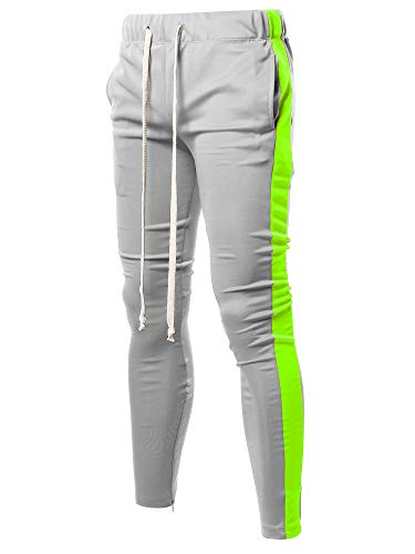 Style by William Casual Long Length Drawstring Ankle Zipper Track Pants Grey Neon Yellow XL (Track Pants With Buttons On The Side)