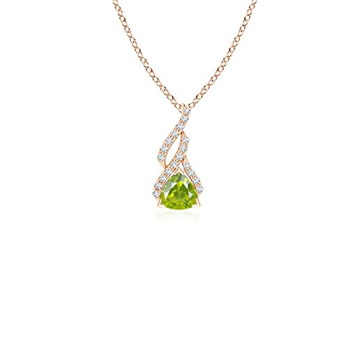 (Trillion Peridot Solitaire Pendant with Diamond Swirl in 14K Rose Gold (4mm Peridot))