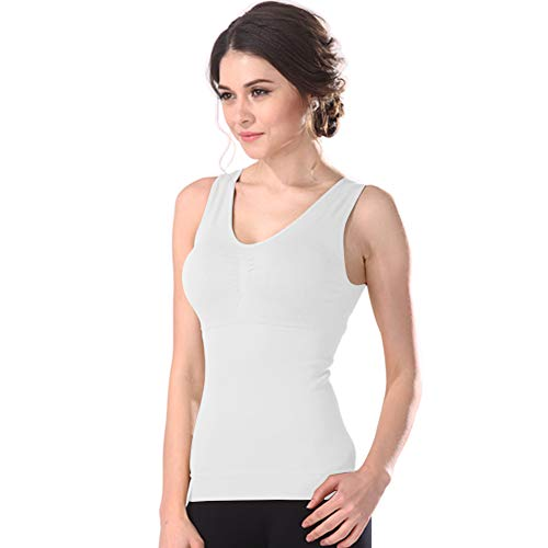 - Women's Cami Shaper Tank Top with Built in Removable Bra Body Shaper Camisole (White, 3X-Large)