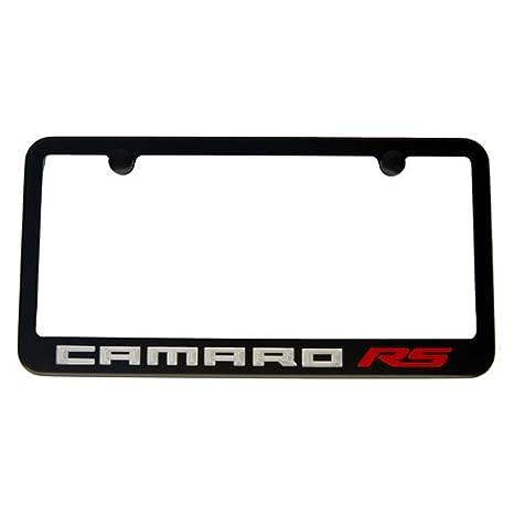 Amazon.com: Chevrolet Camaro RS License Plate Frame - Satin Black ...