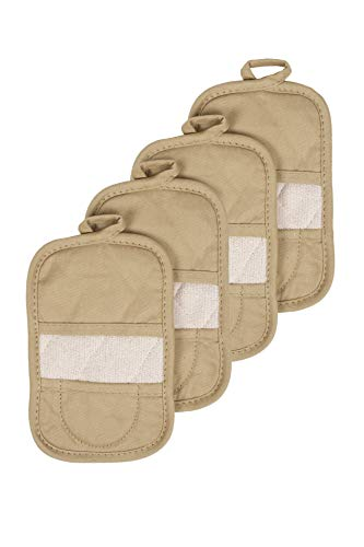 Ritz Royale Collection 100% Cotton Terry Cloth Mitz, Dual-Function Pot Holder/Oven Mitt Set, 4-Pack, Biscotti