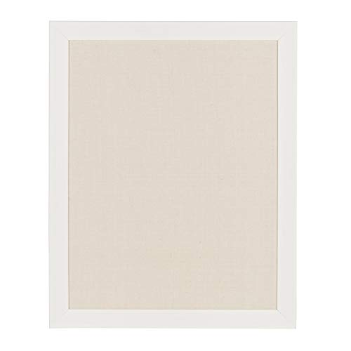 DesignOvation Beatrice Framed Linen Fabric Pinboard, 23x29, White]()