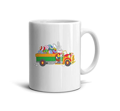 KIUIKK Easter Bunny with Egg Truck Clipart Funny White Coffee Mugs Glossy Ceramic Personalized Teacup 330ml Cup 11 oz