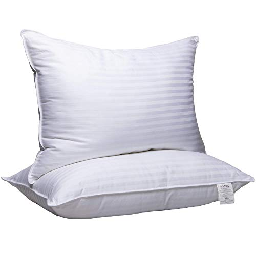 Adoric Pillows for Sleeping 2 Pack, Bed Pillows 100% Breathable Cotton Cover Skin-Friendly, Standard Size, White (Queen)