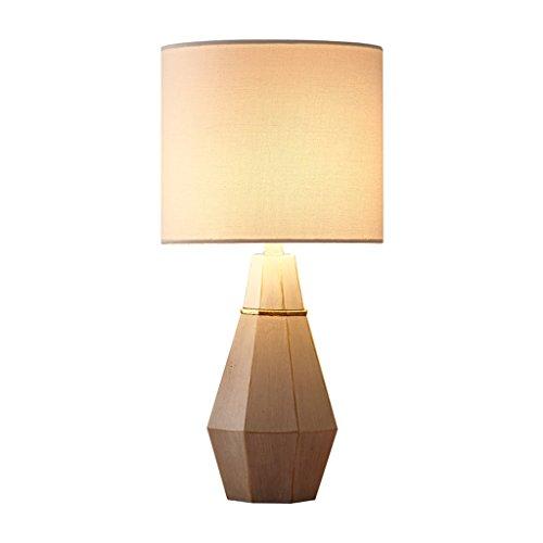 Lámparas de Escritorio Nordic Minimalist Cement Small Table Lamp, Modern Fabric Diamond Shaped Cylindrical Table Lamp…