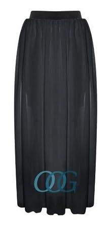 Amazon.com: Womens Maxi Skirt Ladies Sheer Chiffon Gypsy Plain ...