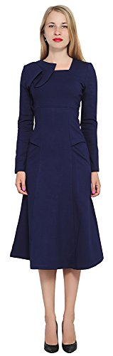 Marycrafts Womens Elegant A Line Midi Dress Evening Cocktail Dresses 20 Dark Blue