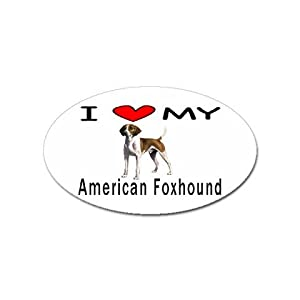 I Love My American Foxhound Oval Magnet 2