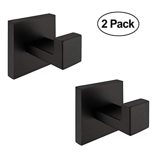 (Nolimas 2 Pack Matte Black Towel Hook Stainless Steel Bathroom Rustproof Clothes Towel Coat Hook Wall Mounted Square Toilet Kitchen Heavy Duty Door Hanger)