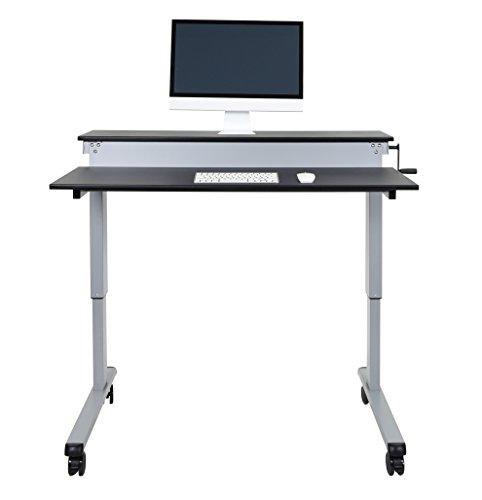 Crank Stand Up Desk 48 Quot Silver Frame Black Top
