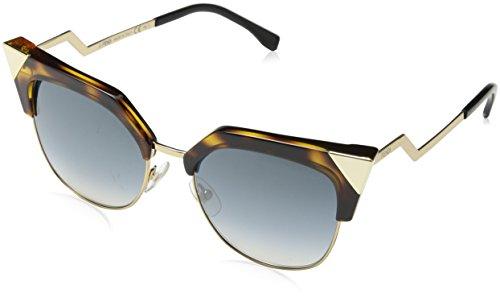 Fendi Women's Iridia Crystal Corner Sunglasses, Havana Gold/Azure, One - Fendi Havana Sunglasses