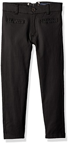 CHEROKEE Little Girls' Uniform Strectch Twill Skinny Pant with Lace Detail, Black, 5