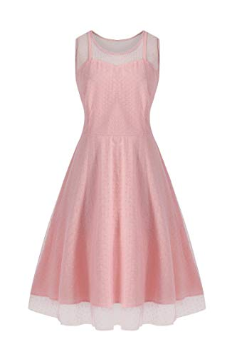 KILOLONE Women Vintage Bridesmaid Dresses Plus Size Pink 1950s Sleeveless Cocktail Dress Party Retro Evening Lace Swing Dress ()