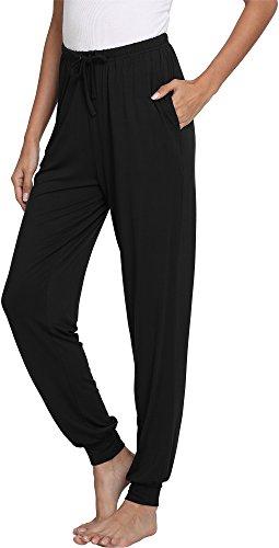 (GYS Women's Bamboo Viscose Lounge Jogger Pants, Black, X Large)