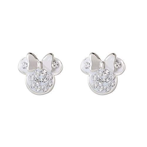 - Disney Minnie Mouse Birthstone Jewelry for Women and Girls, Sterling Silver Pave Crystal Stud Earrings (More Colors Available) Mickey's 90th Anniversary, April