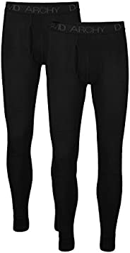 DAVID ARCHY Men's 2 Pack Ultra Soft Winter Warm Base Layer Bottom Fleece Lined Thermal Long