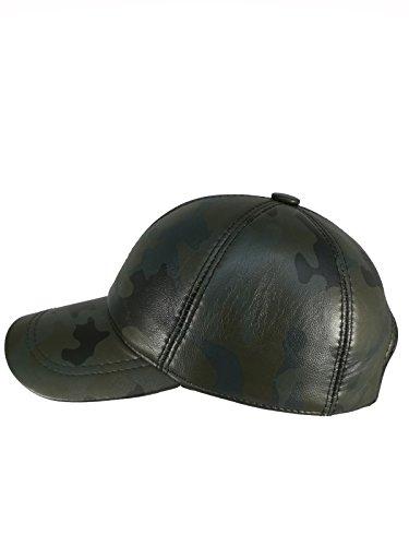 CIAO VESTITI Unixex Adjustable Genuine Leather Baseball Cap Hat, Assembled In USA (Green (Genuine Leather Baseball Cap)