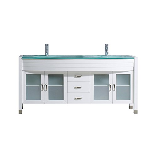 Virtu USA UM-3073-G-WH-001 Ava 71'' Double Bathroom Vanity with Aqua Tempered Glass Top and Round Sink with Brushed Nickel Faucet and Mirror, White by Virtu USA