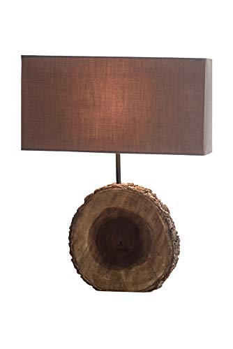 NPD O'THENTIQUE Rustic Tree Bark Table Lamp | Earthy Unfinished Natural Wood | Brown Shade Perfect as Entry Table Lamp, Sofa Table Lamp for Beach House, Cottage, Cabin, Bedroom, Living Room Decor