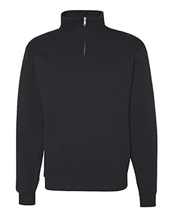 Jerzees Adult NuBlend Quarter-Zip Cadet-Collar Sweatshirt (Black) (Small)