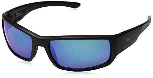 Smith Survey Carbonic Polarized Sunglasses, Matte Black, Blue Mirror - Mirror Matte Blue Glass Black