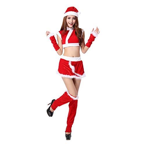 Mayunn 5-Pieces Women's Sexy Cute Christmas Short Skirt Bracelet Leg Set Suits (Skirt Mermaid Online)